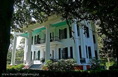 Light, sky-blue paint on porch ceilings isn't just done out of Southern tradition. The color also keeps wasps from building nests and spiders from weaving webs overhead. (This home was built in the 1850's, in Alabama).
