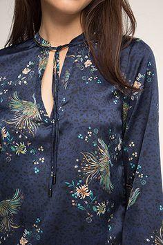 Esprit / Soepele crêpe-satijnen blouse met print