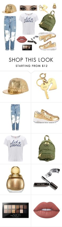 """""""Gold Outfit - Ghetto Chic with Gold Accents"""" by kimber-rose on Polyvore featuring Moschino, Sophie Hulme, Topshop, New Balance, Sundry, Christian Dior, Bobbi Brown Cosmetics, Maybelline and Lime Crime"""