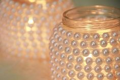 DIY candle holder jar. I like this idea... maybe try it with fewer pearls, just at the bottom and top. - Searching for Photos ? | TOOVIA