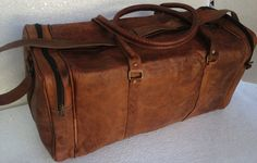 Leather Duffel bag handmade 24 inch leather by leatherpassionkomal, $99.00