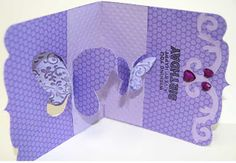 Butterfly Window Pop 'n cuts Insert, Square PNC Base w/Ornate edge, Bigz Butterflies & Labels die for decorating. Lovely card! - Birthday Card for Lisa and Video | Joan's Gardens