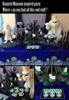 Haunted Mansion Inspired Party.  The cupcake topper tombstones link: http://family.disney.com/crafts/haunted-mansion-cupcake-tombstones  The Hitchhiking Ghosts cookies: https://www.etsy.com/listing/204106294/12-ghost-image-cookies?utm_source=OpenGraph&utm_medium=PageTools&utm_campaign=Share