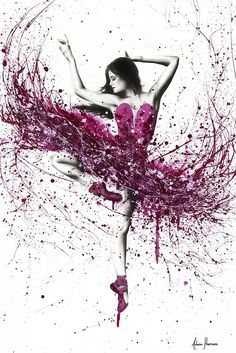 Royal Rubellite Ballerina Art Print by AshvinHarrison - X-Small Ballet Drawings, Dancing Drawings, Art Drawings, Ballerina Kunst, Ballerina Painting, Ballerina Drawing, Dancer Drawing, Ballerina Project, Dance Paintings