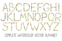 Posted by @newkoko2020 Watercolor floral alphabet by alexandra.dzh on @creativemarket
