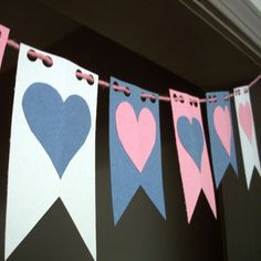 Valentine flag banner...This project is great for family, classroom or group craft time. It requires no patterns and uses simple materials. With a little preparation by the adults or teen leaders, this project is fast and fun.