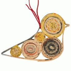 Coiled recycled paper dove. Gift wrapping decoration