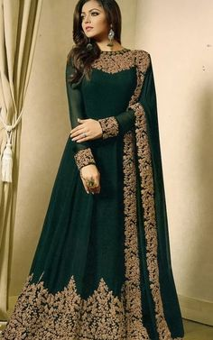 Buy Georgette Abaya Style Suit in Dark Green Online Party Wear Indian Dresses, Indian Gowns Dresses, Dresses To Wear To A Wedding, Dress Indian Style, Abaya Style, Pakistani Bridal Dresses, Indian Bridal Wear, Pakistani Outfits, Indian Ethnic Wear