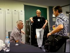 Working class band: Cold Chisel on tour Phil Small, Jimmy Barnes and Ian Moss debrief after their performance in Cairns.  Picture: Gregg Porteous