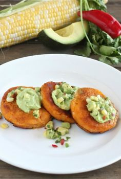 Sweet Potato Cakes with Avocado Creme Fraiche and Corn Salsa | The Hopeless Housewife