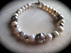 Pearl Bracelet with Sterling Silver Bali by HeidiDiCesareDesigns, $25.00