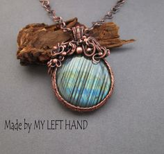 Labradorite necklace Copper necklace Wire by MadeByMyLeftHand
