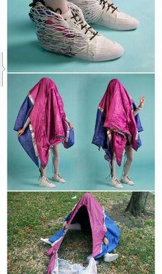 ZAPATOS CAMPAÑA Unos zapatos que se convierten rápidamente en una casa de campaña. Para los amantes del camping y la aventura.  Diseñado por Design Collective Sibling