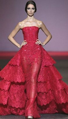 A model showcases designs by Michael Cinco on the catwalk on day 8 of. Red Ball Gowns, Ball Gowns Evening, Red Gowns, Lace Evening Dresses, Couture Mode, Style Couture, Couture Fashion, Red Lace Gown, Vestidos Fashion