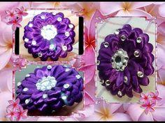 Цветочек канзаши для начинающих на резинке из ленты 1 см. flower kanzash...