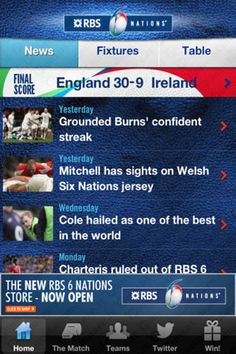 Su iOS e Android l'applicazione ufficiale 'RBS 6 Nations Championship'