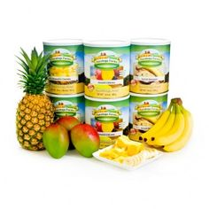 Tropical Fruits ReadyPack. The ReadyPack includes Pineapple Chunks (DELicious!), Banana Slices and Mango Chunks! 30 Year Shelf Life!