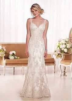 New Luxury Custom Cap Sleeve Beaded Lace Long Bridal Gowns Wedding Dresses 2015