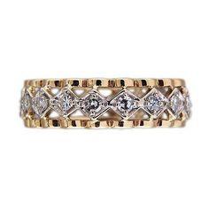 1940 Open Work .65ct. 14k Yellow & White Gold 6 1/2 Diamond Eternity Band Ring