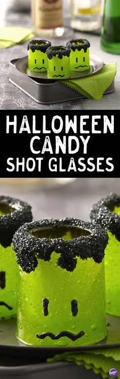 Transform candy shot glasses into spooky monsters with Wilton Black Candy Melts candy. Fill with your favorite liquor for an adult Halloween party. Or, add mousse or icing for a sweet treat that can be gobbled up in its entirety.