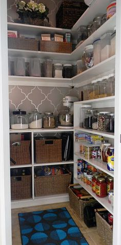 a few things to like:  Upper shelves go all the way around and are shallow, just tall enough to fit canisters; gray print on walls, baskets along bottom (good for potatoes, onions, bags of things); cubbies along back wall with double-high baskets; shallow shelving along side for canned goods.  good shelf on back wall for appliances...WALL PAPER in pantry :)