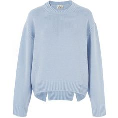 Acne Studios Light Blue Chunky Wool Knit Shora Jumper found on Polyvore featuring tops, sweaters, blue crew neck sweater, oversized sweaters, chunky sweater, raglan sweater and blue sweater