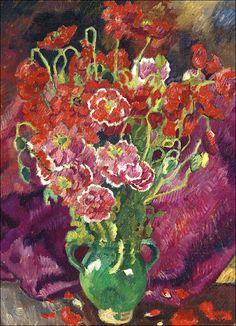 Louis Valtat (1869-1952) Fleurs rouges dans un vase  Wish I could paint something like this.