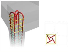 If the construction of a 'column cap' is not a desirable solution due to reasons like e. the need for a flat roof, then the column rebars of the upper floor can be anchored according to one of the existing ways. Concrete Staircase, Concrete Building, Building Systems, Building Structure, Land Surveyors, Concrete Structure, Reinforced Concrete, Concrete Design, Flat Roof