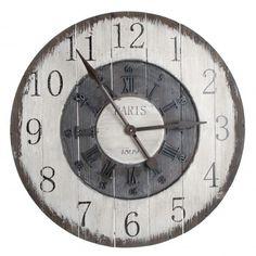 Grote wandklok uit hout met arabische en romeinse cijfers Diameter: 80 cm