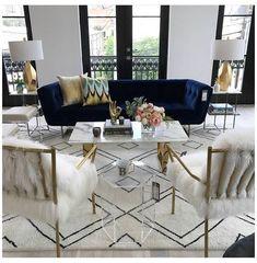 Glam Living Room, Formal Living Rooms, Living Room Interior, Living Room Decor, Decor Room, Modern Living, Small Living, Interior Livingroom, Blue Living Room Furniture