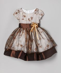Take a look at this Brown Flower Embroidered Dress - Infant, Toddler & Girls by Kid Fashion on #zulily today!
