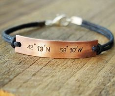 Coordinate bracelet for him custom personalized boyfriend gift hand stamped customized jewellery australia Couple Bracelets Leather, Matching Couple Bracelets, Bracelets For Boyfriend, Boyfriend Gifts, Boyfriend Girlfriend, Girlfriend Anniversary Gifts, Leather Anniversary Gift, Boyfriend Birthday, Custom Coordinates Bracelet