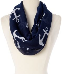 Navy Anchor Infinity Scarf by Joy Accessories #zulily #zulilyfinds
