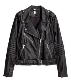 Black/structure. Biker jacket in imitation leather with shoulder tabs, lapels with snap fastener, and diagonal zip at front. Long sleeves with quilted