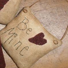 Primitive Valentine Ornaments Wool by TeresasPrimTreasures on Etsy, $18.00