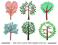 Trees SVG / DXF Cutting Files for Cricut Design Space / Silhouette Studio & PNG Clipart, Digital Download, Commercial Use Ok by DigitalGems on Etsy
