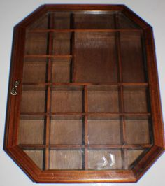 1980u0027s Wood Display Case Glass Door Miniature Curio Wall Shelf SHADOW BOX  Hinged #Unbranded #