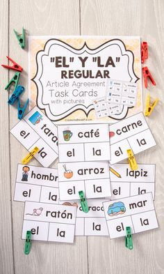 """Can you spot the error in the image? If so comment below! My students make article agreement errors between """"el"""" and """"la"""" so frequently. I had to create this product to make practicing these words fun and easy for them. I create a version with pictures and this product is virtually identical to the non-picture version! Help students learn how to use el and la in Spanish. CONTENTS: *88 Regular El/La Task Cards *52 Irregular El/La Task Cards --> Irregular means that the word ends in l/r/e/n/s"""