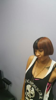 Two tone hair color by Kesha Allen at Lake Shallen Hair Salon