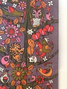 Image result for owl textile seventies