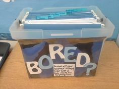 """I grew weary of my students complaining of boredom when waiting for their classmates to finish their homework in our after-school classroom, so I put together a """"bored box."""" It's full of coloring pages, sudoku, crosswords, word searches, and other productive activities to keep them from uttering the dreaded """"I'm bored!"""""""