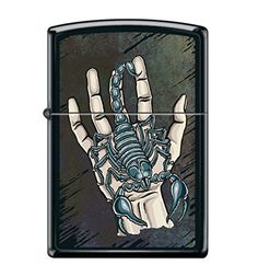 Zippo Lighter - Scorpion on Hand Black Matte Zippo