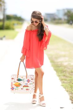 Looove this red dress and the cute fishy tote