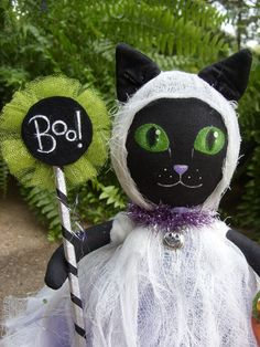 """OoaK Black Cat GHOST Trick-or-Treater HALLOWEEN Art Doll 10 1/2"""" tall POPPYWISE #NaivePrimitive"""