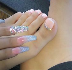 Cute Nails, Pretty Nails, My Nails, Fancy Nails, Bling Nails, Toe Nail Designs, Acrylic Nail Designs, Art Designs, Design Ideas