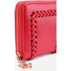 Crochet Design Flower Zipper Wallet ($17) ❤ liked on Polyvore featuring bags, wallets, flower bag, red wallet, crochet bag, flower wallet and crochet wallet