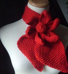 Custom Made Vintage Inspired Ascot Necktie - Lotus Flower Design In Cherry Red/ Wider Neck Design