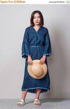 ON SALE Blue Linen Dress, Shibori indigo dress, one size loose dress, hand dyed dress, shibori clothing, summer dress