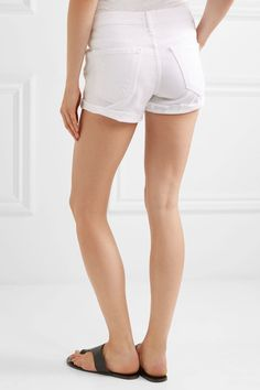 Mother - The Teaser Distressed Stretch-denim Shorts - White - 25