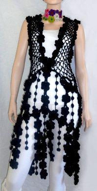 Black dress crochet hippie tunic  luxury boho style  par GlamCro, $460.00
